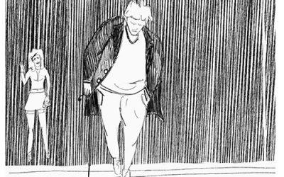 Vanaf het terras gezien, een man met een wandelstok